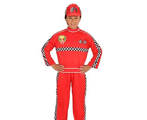 Widmann 72887 - Kinderkostüm Formel 1 Rennfahrer, Oberteil, Hose und Mütze, rot, Größe (Kostüm Halloween Formel 1)