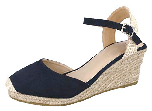 b513a81a2b8 Lora Dora Womens Hessian Wedge Sandals Navy 3 UK