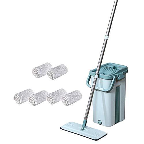 Touchless Mop Selbstreinigungssystem Mopp MaxiClean Set Flach-Mopp und 2 in 1 Eimer Wischmop Set Wischmop Bodenwischer Mopp Mop