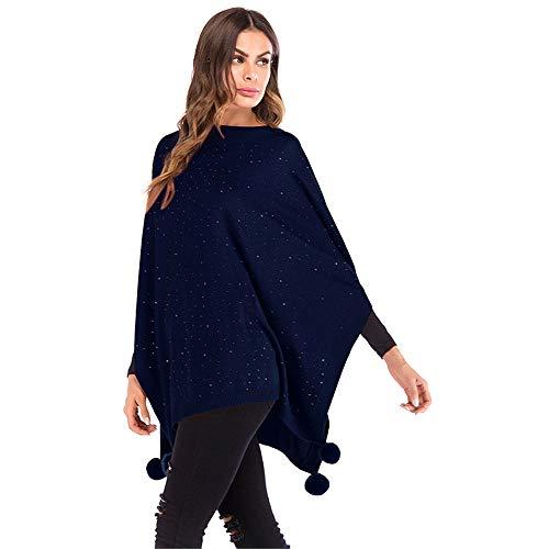 Maybesky Schal Wickeln Womens Reversible gestrickte Poncho Cape übergroßen Pullover Weihnachten Schal Decke Schal Wrap Hochzeitsfeier (Farbe : Dunkelblau) Reversible Hooded Mantel