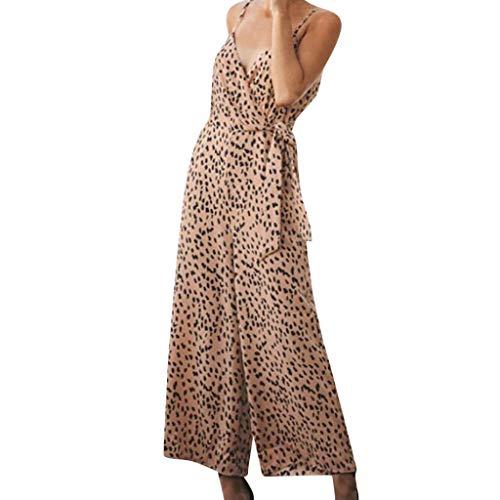 RISTHY Mono Mujer Elegante Largo Verano Mono de Honda Leopardo Bohemia Casual Pantalones Ropa Vestir Cintura Alta Vendaje Ajustado Sexy Trajes Piernas Anchas Playa