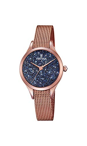 Festina Damen Analog Quarz Uhr mit Edelstahl Armband F20338/3