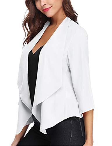 Abollria Damen Chiffon Cardigan Elegant Blazer Leicht Dünn Längere Bolero 3/4 Arm Offene Jacke Weiß (Einzigartige Kostüme Partner)
