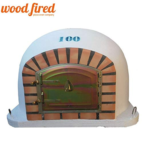 Terracotta Forno Wood Fired Pizza Oven, Orange Arch, Gold Door, 100cm x 100cm
