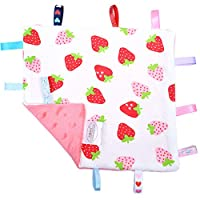 G-Tree Red Baby Tag Blanket - Thin Blanket with Tags, Label Security Taggie Blanket Toy Great Gift for Baby Boy and Girl