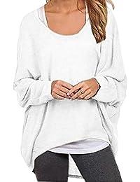 74e47aa785239a Meyison Damen Lose Asymmetrisch Sweatshirt Pullover Bluse Oberteile  Oversized Tshirt Strickpullover