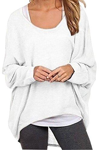 Meyison Damen Lose Asymmetrisch Sweatshirt Pullover Bluse Oberteile Oversized Tops T-shirt Weiss-XXL (Damen Weiße Strickjacke)