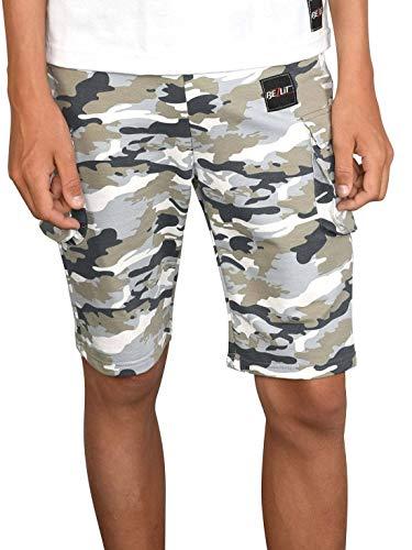 BEZLIT Jungen Shorts Kinder Kurze-Hose Cargo Capri Short Hosen Strech 30079 Grau-Camouflage 128/134