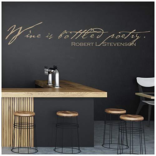 azutura Wein ist in Flaschen Poesie Wandtattoo Küche-Zitat Wand Sticker Bar Cafe Wohnkultur verfügbar in 5 Größen und 25 Farben Extraklein Gold Metallic -