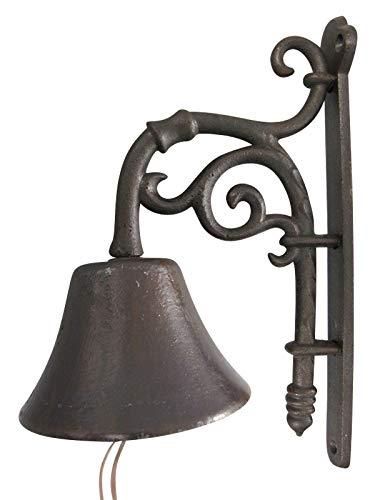 aubaho Wandglocke Türglocke Glocke Gusseisen Garten Dekoration Eisen Antik-Stil 32cm