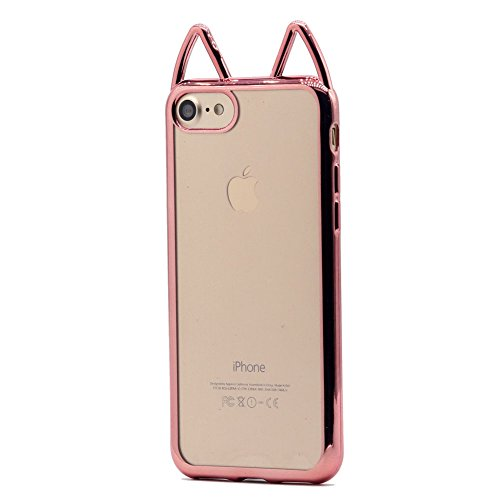a06adac845 Keyihan iPhone 6 / 6s Case Electroplate Chromed Edge Soft TPU Transparent  Bumper Cover with Cute