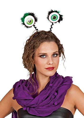 Panelize Kopfbügel mit großen grünen Glubschaugen Wackelaugen ()