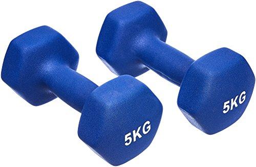 AmazonBasics Neopren Hanteln Gewichte, Blau, (2er-Set), 2 x 5Kg