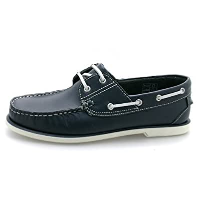 New Mens Navy Leather Boat Shoes UK 8