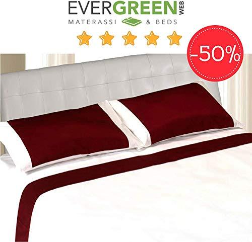 Evergreenweb - completo lenzuola matrimoniali in raso di cotone morbido 250x295 + 2 federe per cuscini letto coppia, set elegante di altissima qualità colore bordeaux per tutti letti e materassi