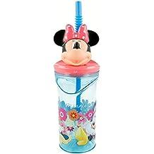 Mouse-14566 Minnie Mouse-Vaso plastico con figurita 3D, Tapa y Pajita 350