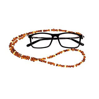 AMBERAGE Natural Baltic Amber Beaded Eyeglasses -Sunglasses Holder/Eyewear Retainers/Eyeglass Chain for Adults Hand Made from Polished/Certified Baltic Amber Beads(3colors) (Cognac-White Color)