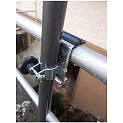 Holly Support de Douche en Acier Inoxydable Poli Haut de Gamme - Support de Douche - Support de Douche pour Table de Balcon Ø 38 mm sur des éléments Ronds jusqu'à 60 mm de diamètre