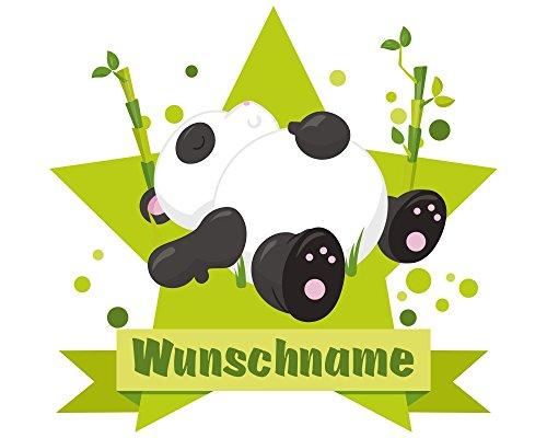 plot4u Schlafender Panda Bär Wandtattoo Türschild mit Name personalisierbar Kinderzimmer Türaufkleber Baby Wandaufkleber in 9 Größen (50x43cm mehrfarbig)