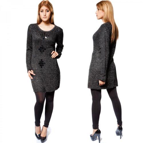 24brands - Pullover longue paillettes 5 couleurs - Femmes Schwarz