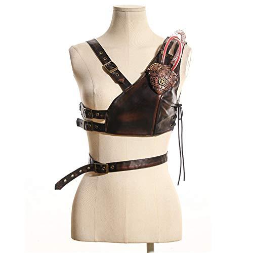 �r Frauen Kreative Herz Design Steampunk Gothic Schutz Rüstung Körper Brust Harness Schulter Armors Cosplay Halloween Zubehör Dekor mit Licht elegant (Größe : L) ()