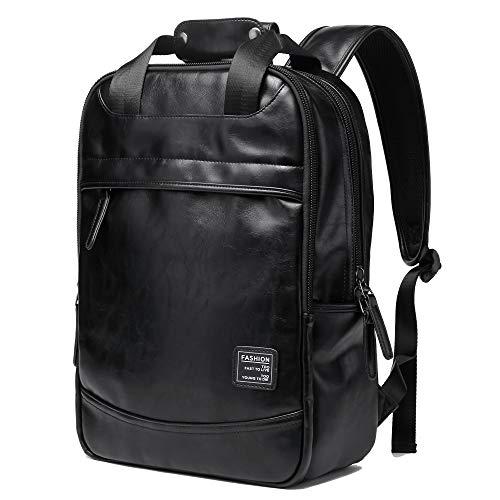 BISON DENIM PU Leder Rucksack Reise Wandern Outdoorrucksack Daypacks für 15 Zoll Laptop großer Rucksack für Schule