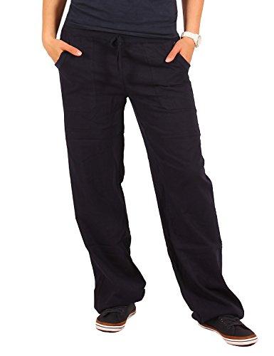 Bestyledberlin Damen Hosen, Leinenhosen, legere Stoffhosen j98a Ozeanblau