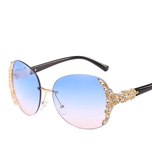 Sonnenbrille Persönlichkeit Frameless Diamonds Lady Fahren Reise Anti-Glare-Brille,Blue