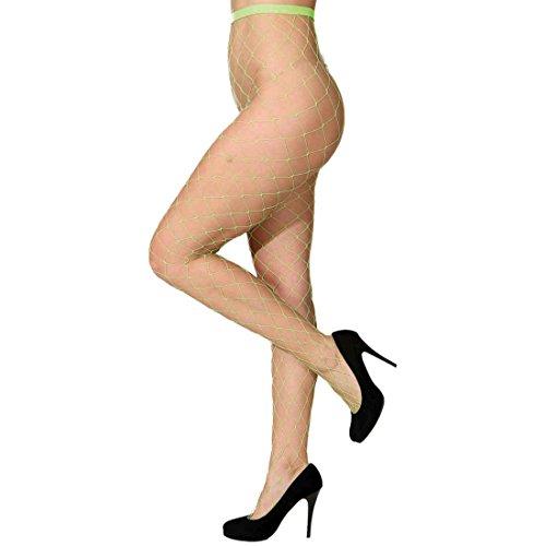maschig Strumpfhose neon-grün Damenstrumpfhose Netzstrümpfe Damen (Netzstrumpfhose Neon-grün)