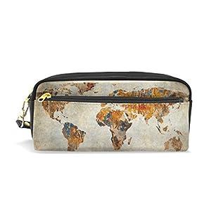 mydaily Vintage Lápiz caso mapa del mundo lápiz bolsa de cosméticos bolso de la bolsa del monedero