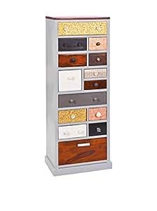 Commode bahut buffet rangement 14 tiroirs design argent coloré Sarita
