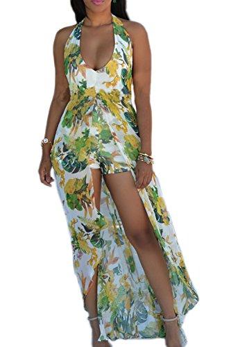 Damen Elegant rückenfrei Schlitz Maxi Dress Strandkleid Green