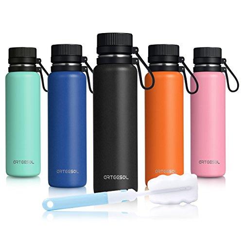 ARTEESOL Wasserflasche 25 Unze (750 ml) ohne BPA Vakuum isoliert 18/8 Edelstahl leckdichte doppelwandige Thermosflasche geeignet für Sport und Training, kalt oder heiß für 12h (Edelstahl-training)