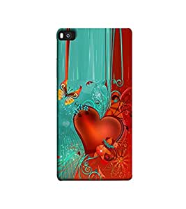 Fuson heart and butterfly designer theme Designer Back Case Cover forHuawei P8-3DQ-1026