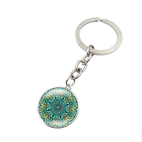 Dtuta Mandala-BlumensymbolmetallschlüSselkette GlasschlüSselketteretrostilmode Bequem