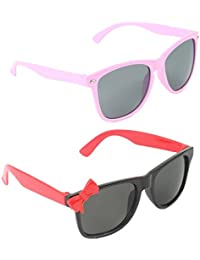 Stol'n Kids Wayfarer And Bow Sunglasses Combo Pack Of 2 Pieces For Girls/Pink/Black And Red/Gift Pack