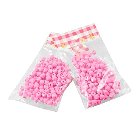 2 Packs Jewelry Necklace Bracelet Pink Bulk 6mm Square Faceted Beads Plastic