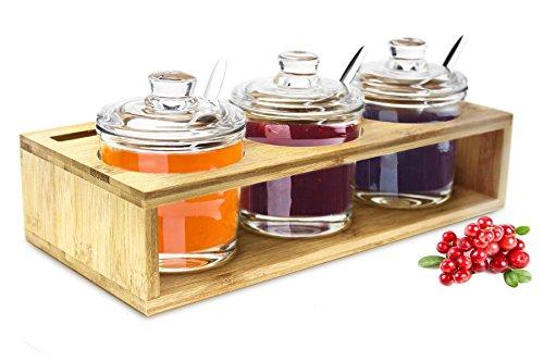 Sendez 3 Gewürzgläser mit Holzgestell und Löffeln Gewürzdosen Parmesandosen Marmeladendosen Set Honigdose Dose Zuckerdose Salzdose Vorratsdose 27x13x12cm 10-tlg