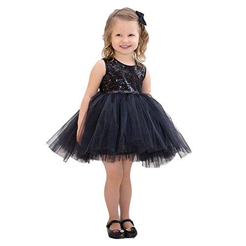 Mädchen Kinder Ärmellos Sequins Ballett Tanz Trikot Gymnastik Tanzkleid Kostüm Dancewear Schwarz 100 (50er Jahre Tanz Kostüme)