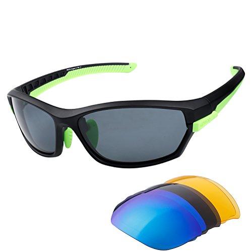 Duco polarizzato sport occhiali da sole per sci guida golf running ciclismo tr90 superlight frame con 3 lenti intercambiabili 6216