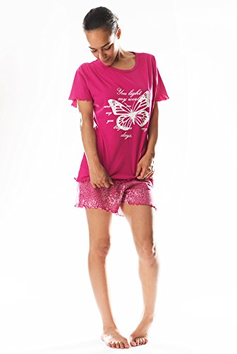 Damen Shorty Pyjama Schlafanzug DF022 Fuchsia