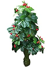 HYPERBOLES Artificial Tree Green Money Plant with Cherry Natural Looking Indoor Plant - 5 Feet/Home