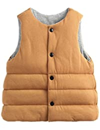 YueLian Bebés Niños Niñas Invierno Novedad Estilo Coreano Muy Suave Manta Chaquetas sin Mangas Chaleco de Algodón Infantil Gilet Vest Amarillo & Gris Claro