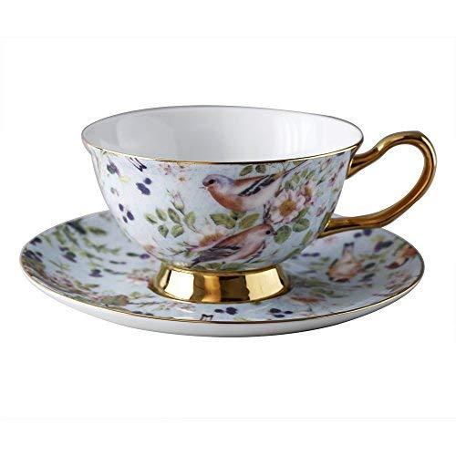 Bone China Kaffee Tasse 250ml (266ml) und Untertasse Set mit Blumen und Vogel Design luxury-gifts für Frau mit Geschenk-Box yosou Home - Bone China-box