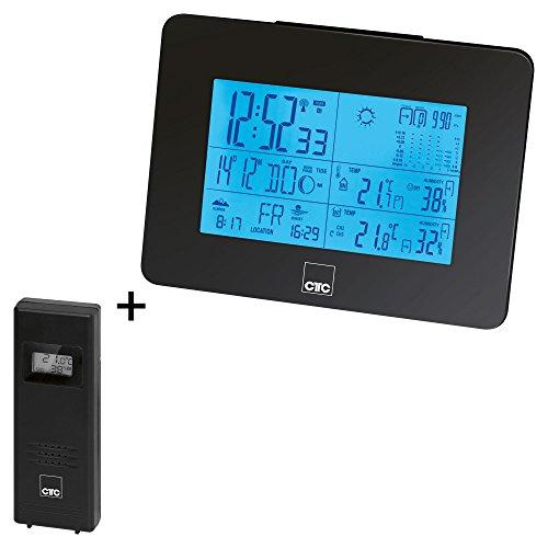 CTC WSU 7026 RC multifunktionale Funkwetterstation mit XL-LCD-Display (beleuchtet), Innen-und Außentemperatur-Sensor, Stand und Wandmontage für Basis und Sensor möglich, schwarz
