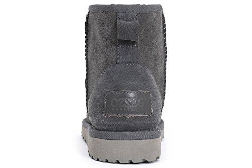 OZZEG femme classique hiver Sheepskin bottes laine chaude doublure Gris