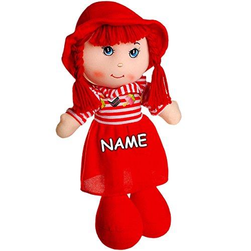 alles-meine.de GmbH große Schmusepuppe - Kleidung AUSZIEHBAR -  Mädchen mit Kleid - gestreift / rot  - inkl. Name - 35 - 37 cm - Stoffpuppe aus Plüsch - Lange Haare Puppe - für..