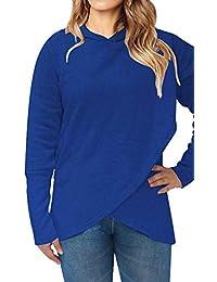 Sudadera con Capucha Mujer Moda Deporte T-Shirt Manga Larga Pullover  Invierno Otoño Blusa Asimetrica Fiesta Camisetas Irregulares… 59f0b77156f