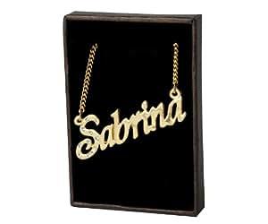 Collier Prenom Arabe Sabrina - plaque or 18k Collier personnalise. 40-48 Chaine Belcher cm avec boite-cadeau et un sac-cadeau. 2mm d'epaisseur nominale