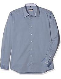 Slim Fit Langarm blau uni mit Basic Kent-Kragen